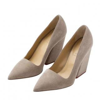 Aeyde taupe suede Sara pumps