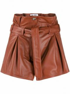 Attico cognac leather tie waist shorts