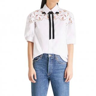 Sandro white cotton pussy bow shirt