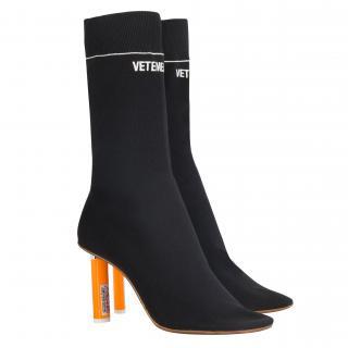 VETEMENTS Orange Lighter Heel Sock Boots