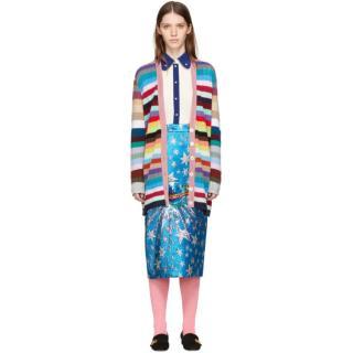 Gucci multi coloured metallic striped cashmere cardigan