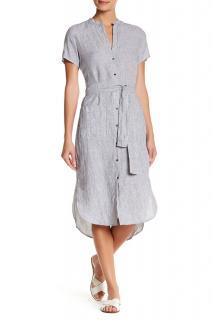 James Perse Linen Striped Tie Waist SHirt Dress