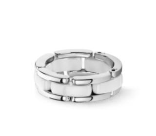 Chanel 18K white gold, white ceramic Medium Ultra Ring