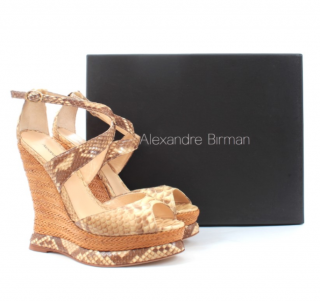 Alexandre Birman Natural Python Raffia Wedge Sandals