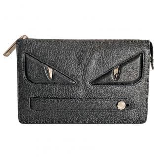 Fendi Selleria black roman calfskin bag bugs pouch