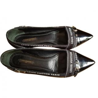 Louis Vuitton Black Logo Strip Pointed Toe Ballerinas