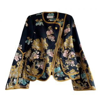Peter Pilotto x The Modist Blue Embroidered Damask Jacket