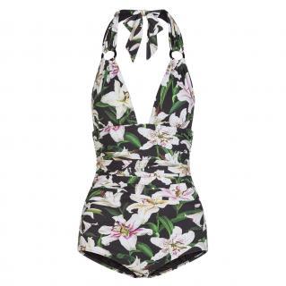 Dolce & Gabbana Black Lily Print Halterneck Swimsuit