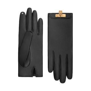 Hermes Black Lambskin Soya Gloves GHW
