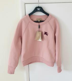 Burberry Pink Logo Embroidered Sweatshirt