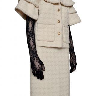 Gucci Black Floral Lace Long Gloves