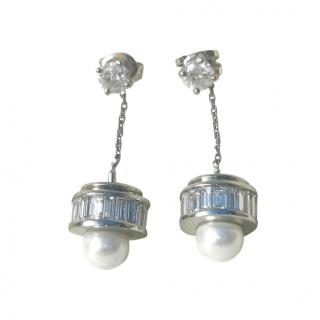 Bespoke 18ct White Gold Diamond Barrel Pearl Drop Earrings