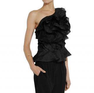 Isabel Marant Yuna One Shoulder Ruffled Silk jacquard Top