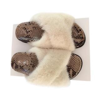 Max Mara Snakeskin & Mink Fur Slides