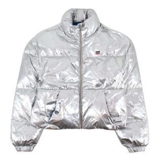 Levi's Silver Metallic Nylon Short Puffer Jacket
