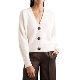 Loulou Studio Cream Wool-Cashmere Blend Tahaa Cardigan