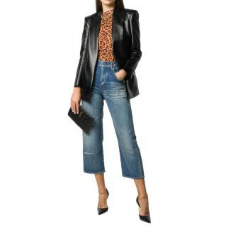 Saint Laurent Blue Cropped High-Rise Straight Leg Jeans