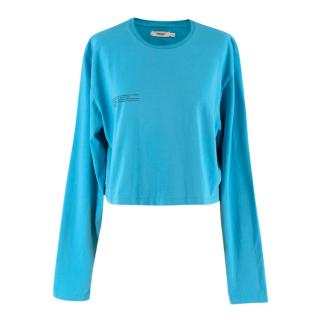 Pangaia Blue Organic Cotton Long Sleeve Cropped T-shirt