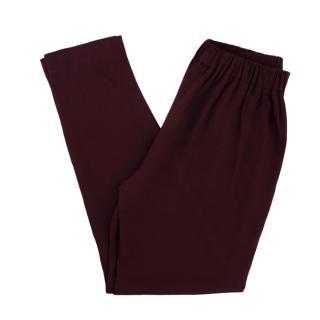 Fendi Burgundy High-Rise Pleated Trousers