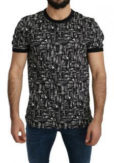 Dolce & Gabbana Mens Black & White Printed T-Shirt