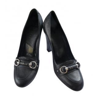 Dior Black Leather Horsebit Pumps