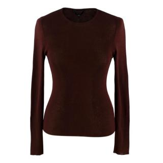 Gucci Burgundy Fine Ribbed Knit Long Sleeve Top
