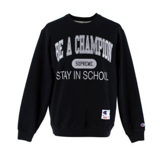 Supreme x Champion Black 'Stay In School' Sweatshirt