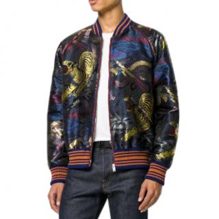 Gucci Navy Jaquard Embroidered Tiger Bomber