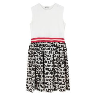 Moncler Girls Ivory Logo Sleeveless Dress
