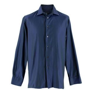 Richard James Savile Row Blue Men's Iridescent Shirt