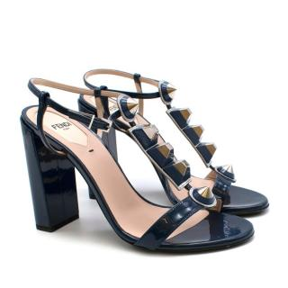 Fendi Blue Patent Studded Block Heel Sandals