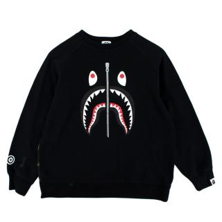 Bathing Ape Kids Black & Camo Cotton Shark Printed Jumper