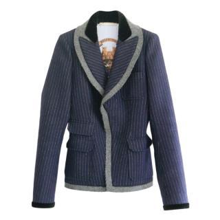 Balenciaga Blue Pinstripe Wool Trim Tailored Jacket