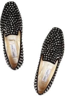 Jimmy Choo Black Wheel studded suede slippers