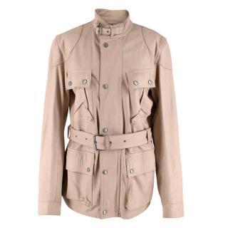 Belstaff Beige Leather Trialmaster Belted Jacket