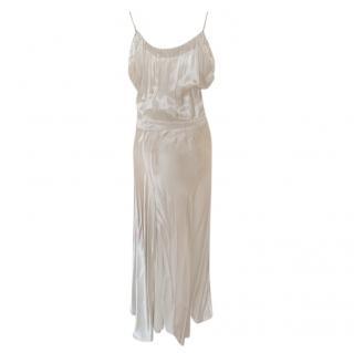 Victoria Beckham Hammered Ivory Satin Midi Dress