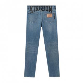 Burberry Slim Fit Kingdom Print Washed Jeans
