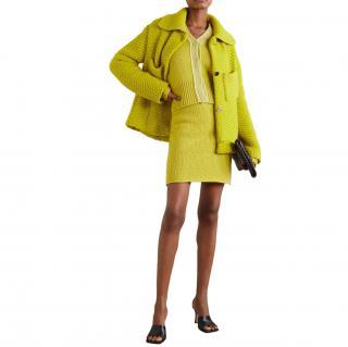 Bottega Veneta Green Wool & Cashmere Knit Set of Cardigan & Skirt