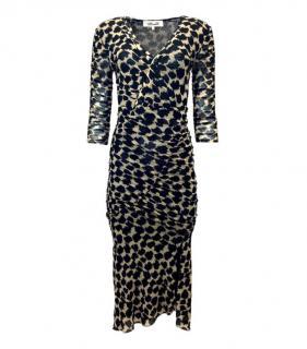 DVF Black/Beige Ruffle Hem Wrap Dress
