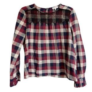 Claudie Pierlot lace trim plaid blouse