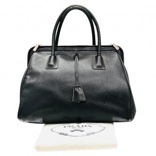 Prada Black Grained Leather Doctors Bag