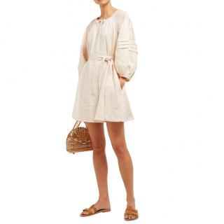 Innika Choo Ecru Linen Embroidered Puff Sleeve Mini Dress
