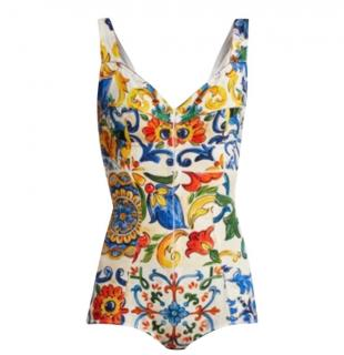 Dolce & Gabbana Majolica Print Bustier Bodysuit