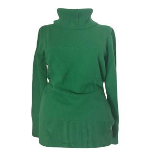 Max Mara Green Virgin Wool & Cashmere Roll Neck Jumper