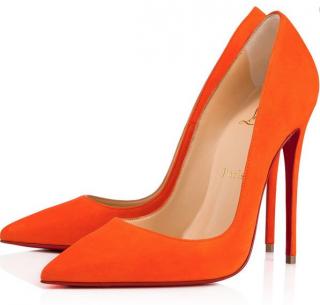 Christian Louboutin Orange Suede So Kate 120mm Pumps