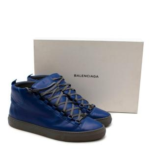 Balenciaga Blue Leather Arena Nappa High-Top Trainers