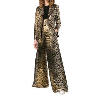 Sarah Battaglia Golden Leopard Print Blazer