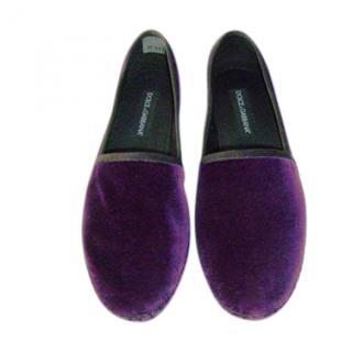 Dolce & Gabbana Purple Velvet Espadrilles