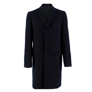 Smalto Navy Cashmere Tailored Coat