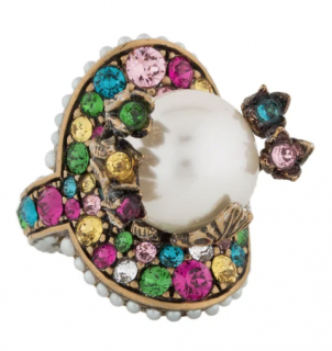 Gucci Crystal Embellished Faux Pearl Ring